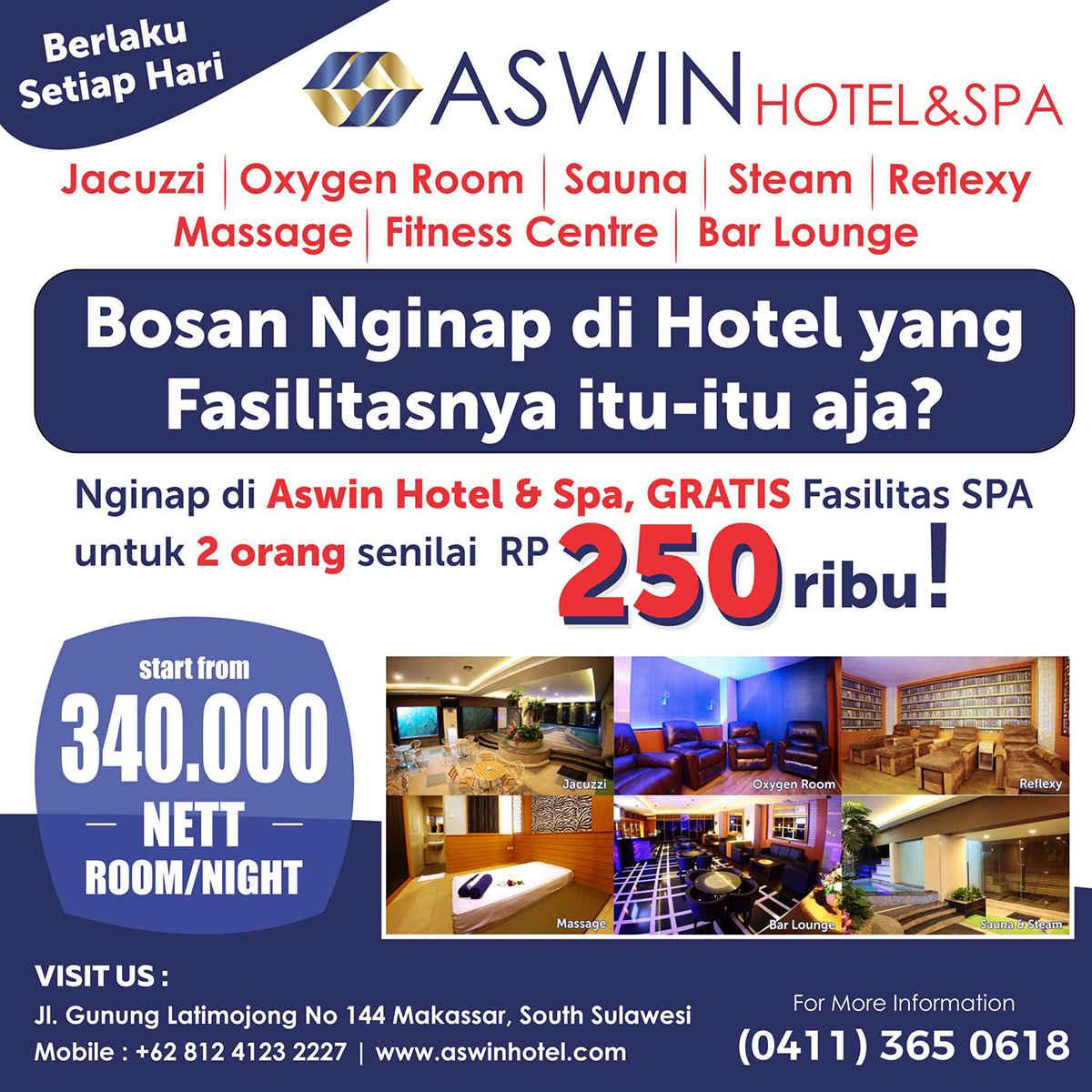 Booking Kamar GRATIS Penggunaan Fasilitas SPA untuk 2 Orang Senilai Rp 250.000,- (Berlaku Setiap Hari)